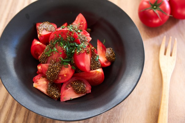 tomatoes with chia ponzu dressing