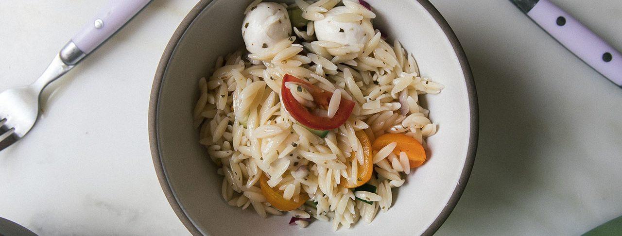 Mozzarella Tomato Orzo Salad horizontal