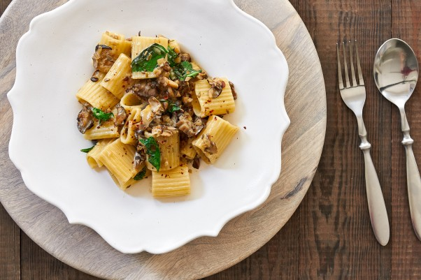 Paccheri with Maitake Basil Sauce Is a Delicious Weeknight Meal