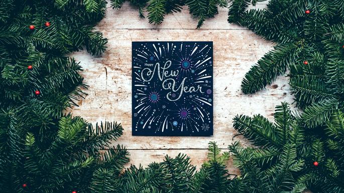 New Years wreath & card
