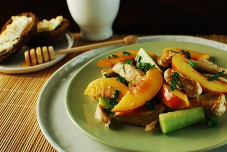 Chicken And Nectarine Salad with Honey Lime Dressing