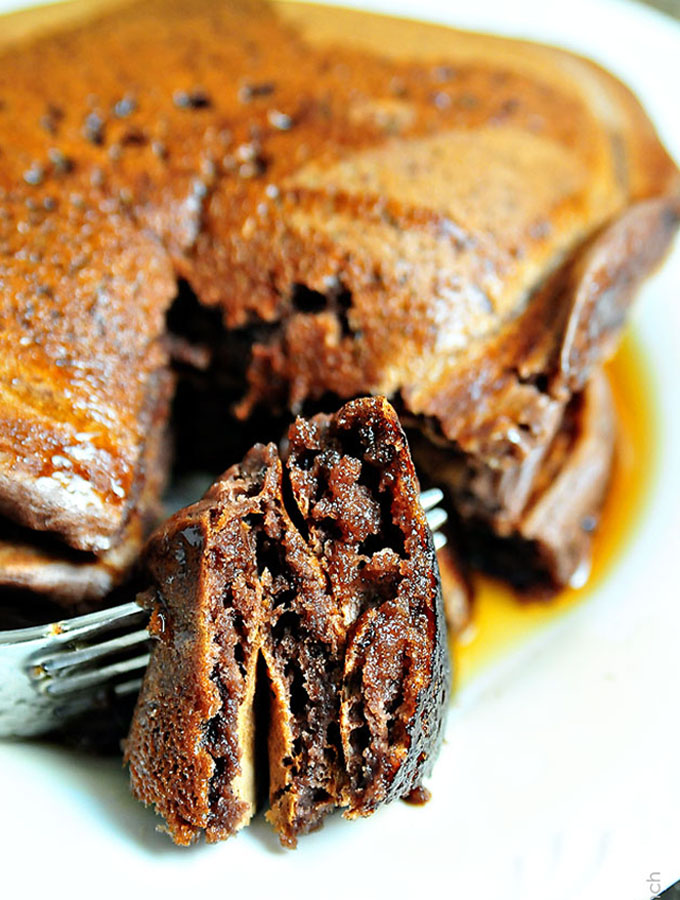 Chocolate Pancakes by Add a Pinch