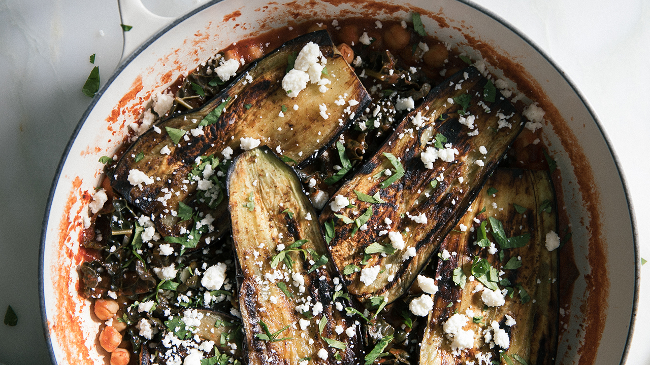 Vegetarian Delight: Eggplant On Braised Chickpeas