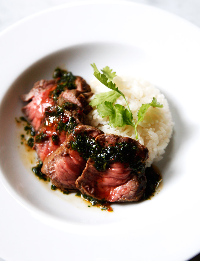Grilled-steak-with-Sweet-Cilantro-Chili-Sauce