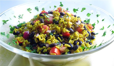 Saffron Rice And Bean Salad Kitchen Explorers Pbs Food