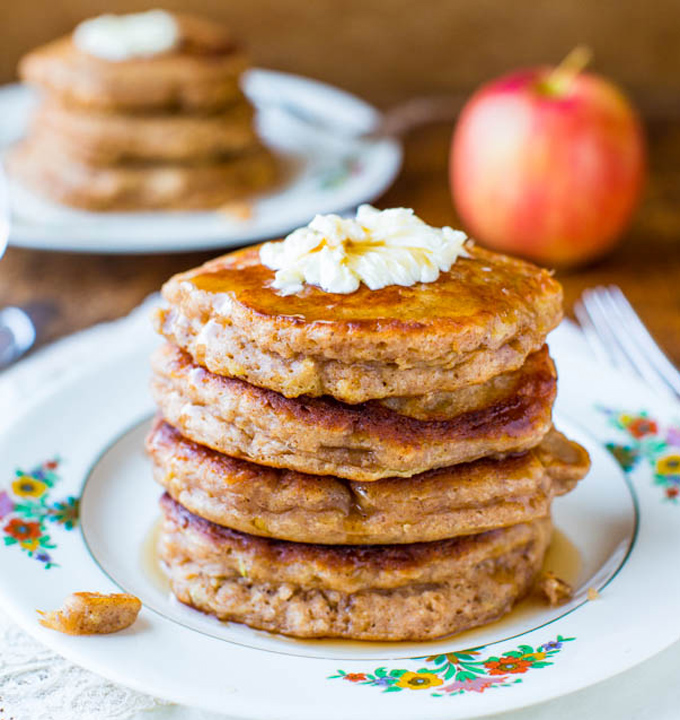 Apple Pie Pancakes with Vanilla Maple Syrup by Averie Cooks