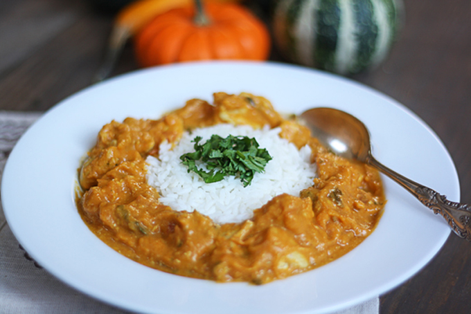 Pumpkin Coconut Curry with Chicken by The Wicked Noodle