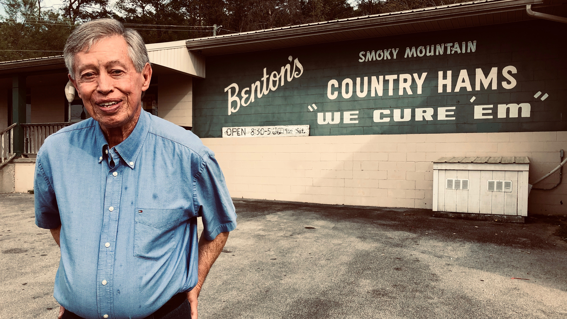 Allan Benton infront of Benton's Smoky Mountain Country Hams