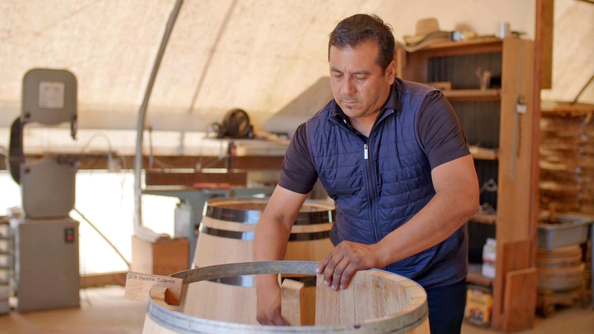 Ramira Herrera building a barrel