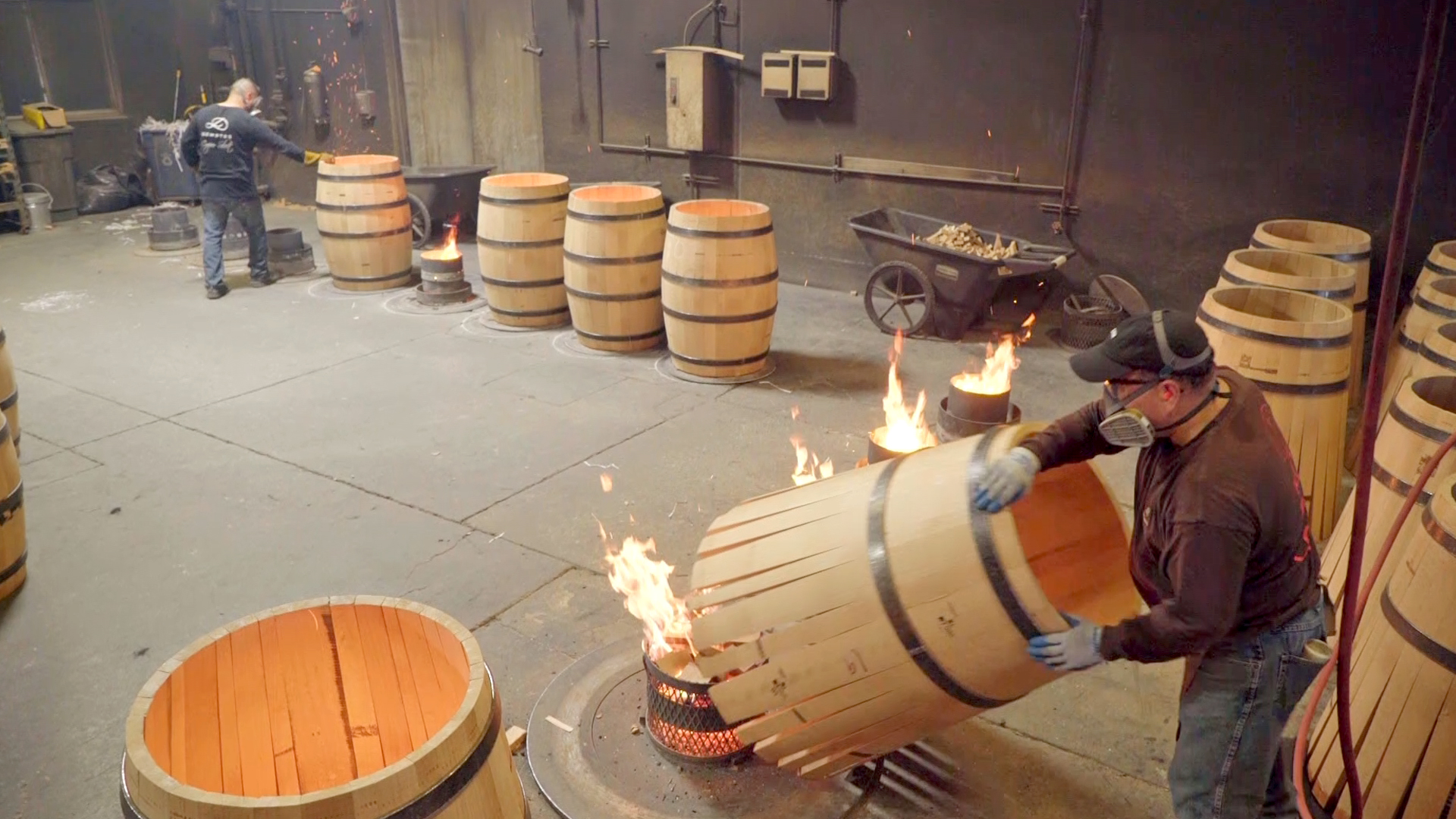 Barrels being toasted