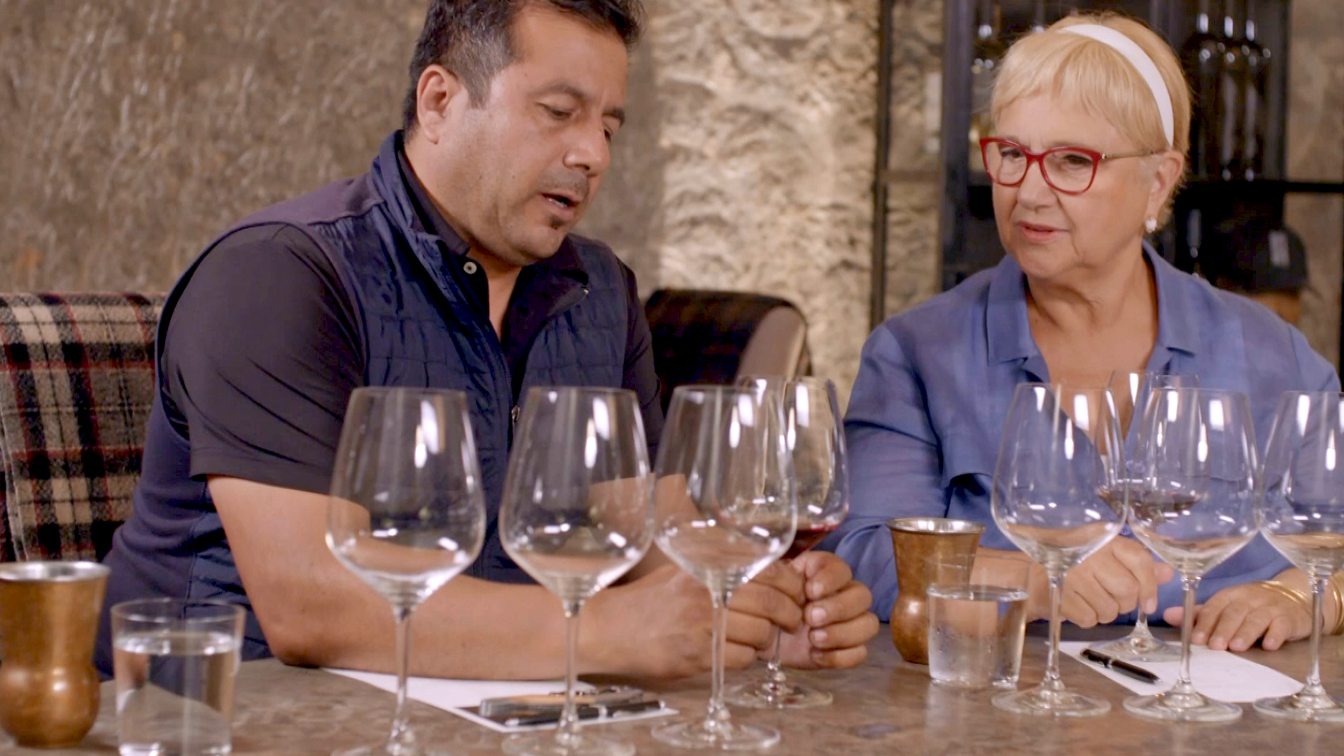 Ramiro Herrera & Lidia sample some of the wines toasted in his barrels