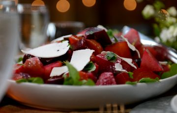Roasted Beet and Beet Green Salad with Apple and Goat Cheese