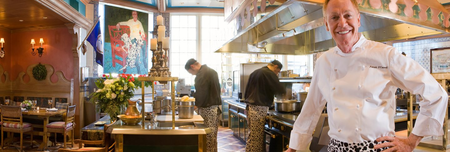 Chef Patrick O'Connell in The Inn at Little Washington's kitchen, considered to be one of the most beautiful kitchens in the world.