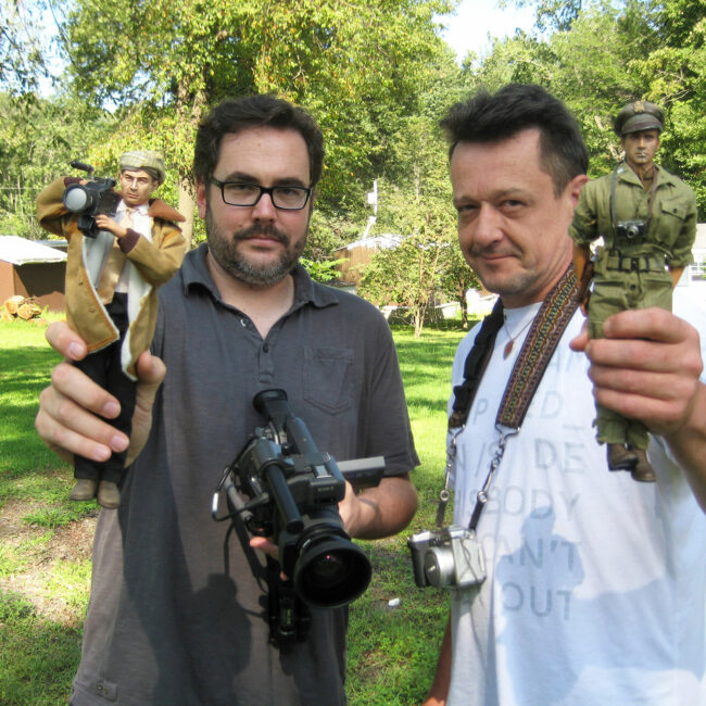 Director Jeff Malmberg and Mark Hogancamp with their Marwencol alter egos. (Photo by Chris Shellen)