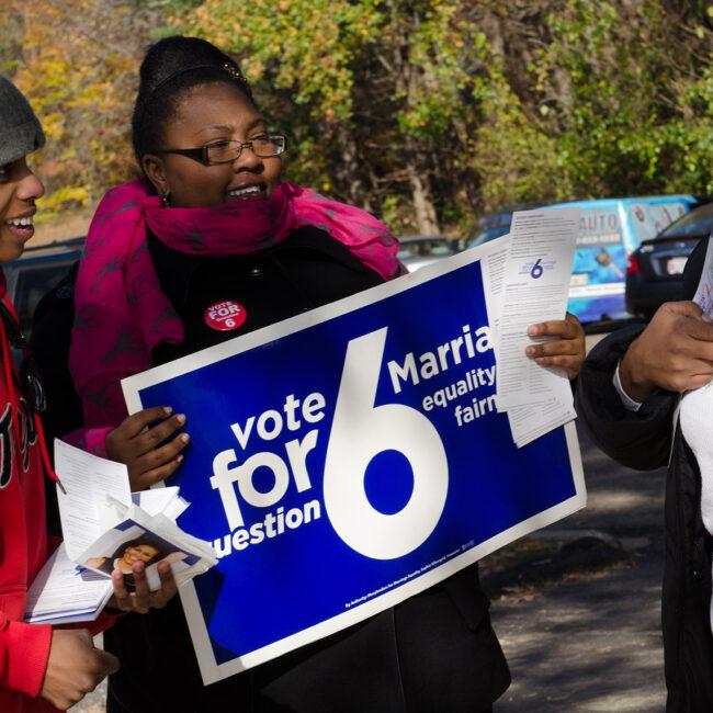 Karess, Sam and volunteer on Election Day