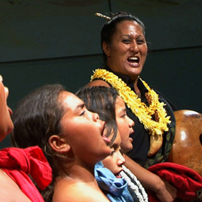 Hina performing with some of her students, from Kumu Hina
