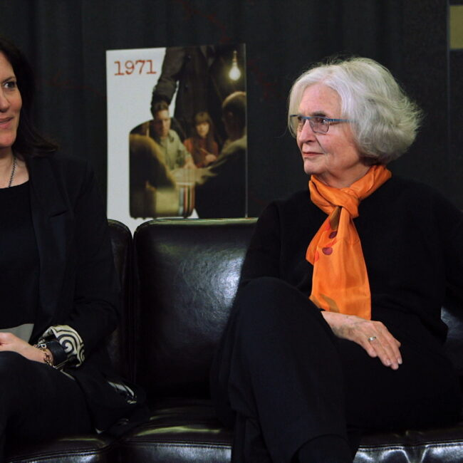 Laura Poitras and Betty Medsger in studio discussing the documentary 1971.