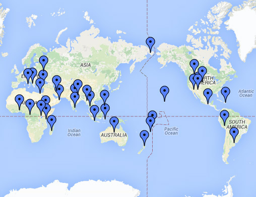 Map of the world with pins dropped across geographic points.