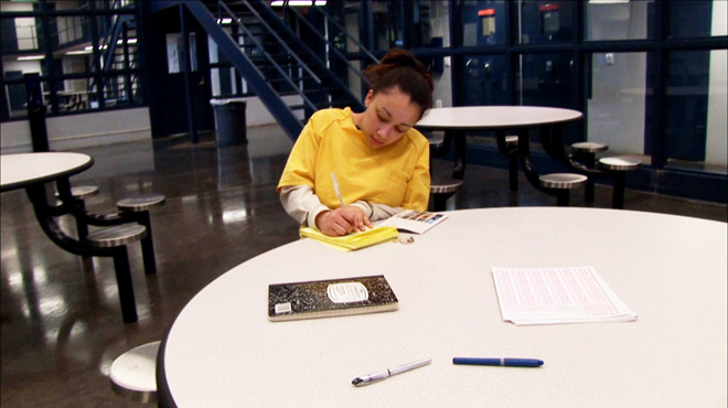 Cyntoia Brown completes her homework in prison