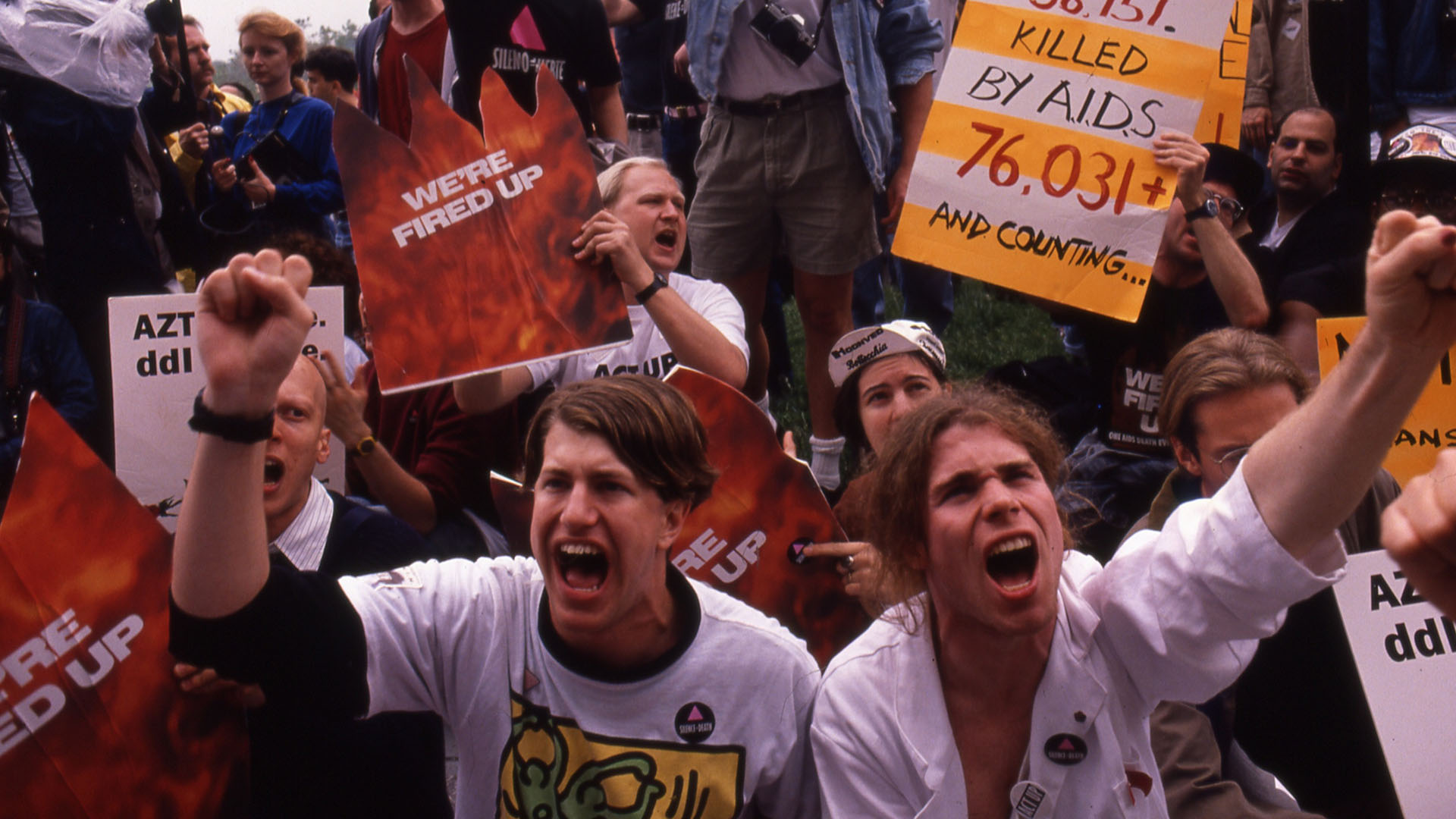 AIDS activists protest via a sit-in