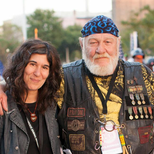 Stray Dog director Debra Granik with the film's subject, Ron