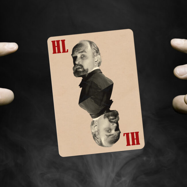 Two hands surround a playing card featuring the image of James