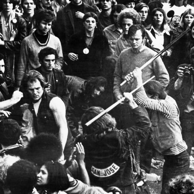 From the Maysles Brothers' Gimme Shelter, when things turned ugly at Altamont during Rolling Stones' performance