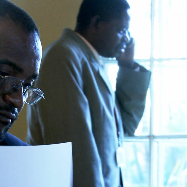 Douglas Mwonzora and Paul Mangwana (l-r) during a meeting about ratifying the new Zimbabwe constitution