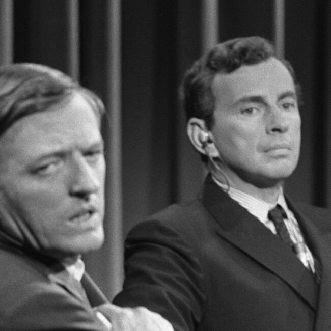 William F. Buckley and Gore Vidal on set of the 1968 ABC News studio
