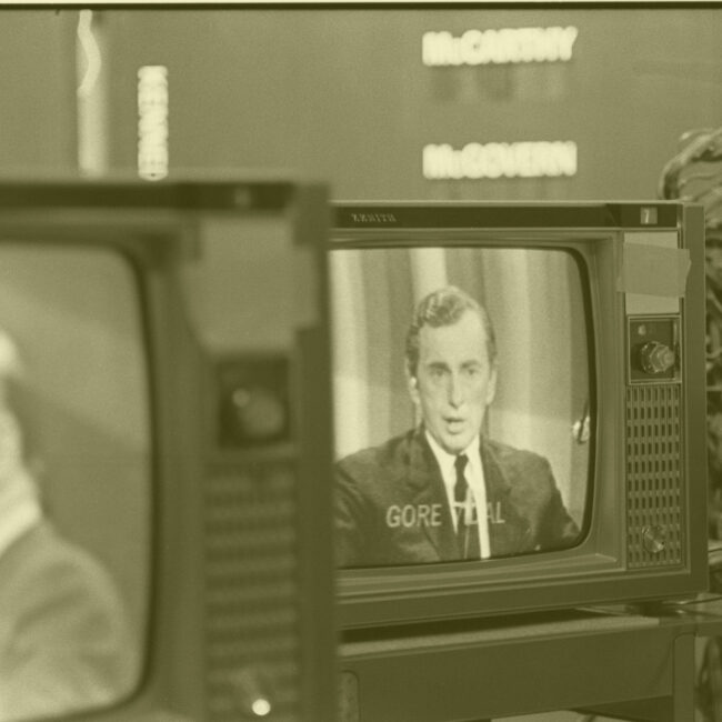 Political pundit Gore Vidal on a television monitor, 1968; courtesy Estate of Archie Lieberman
