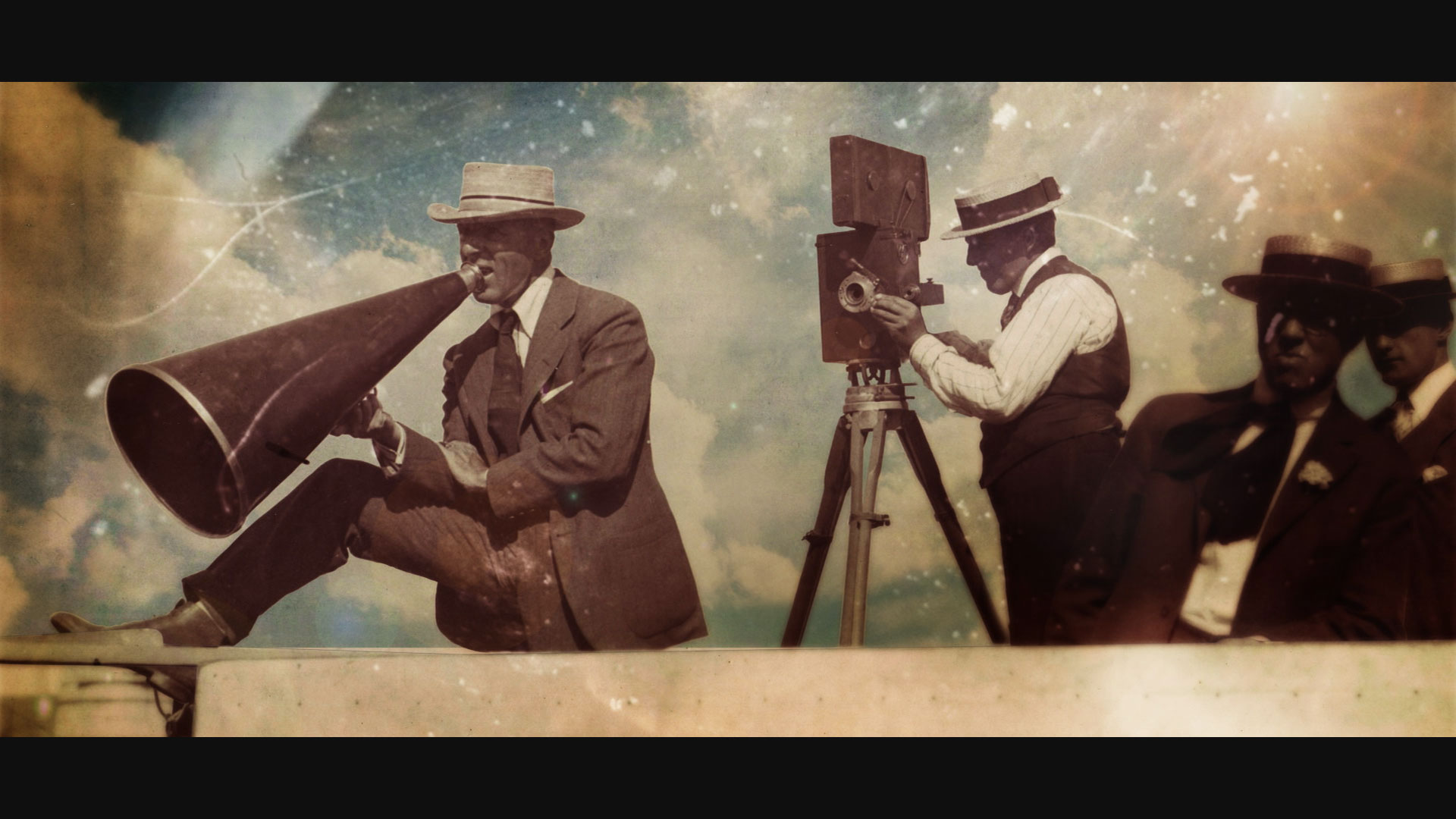 Still from Birth of a Movement, of DW Griffith on set directing a film with megaphone