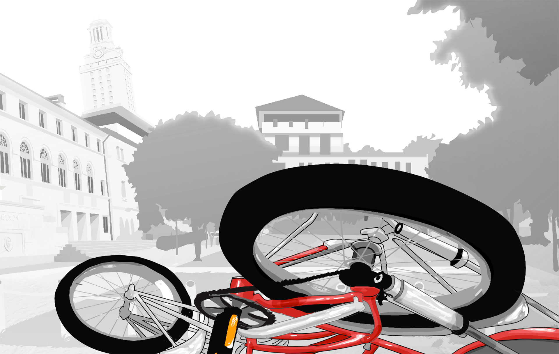 Fallen bicycle after shooting at UT Austin, as animated in the film TOWER