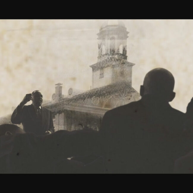 Silhouetted image of William M. Trotter speaking in protest about Birth of a Nation, from Birth of a Movement