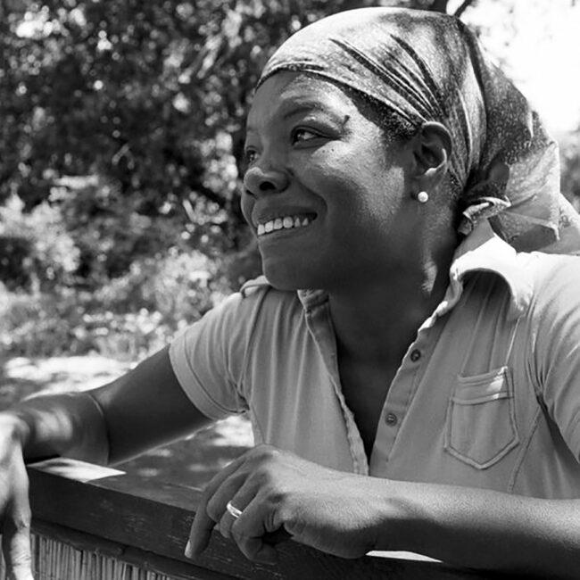 Maya Angelou headscarf at fence headscarf, credit: Wayne Miller/Magnum