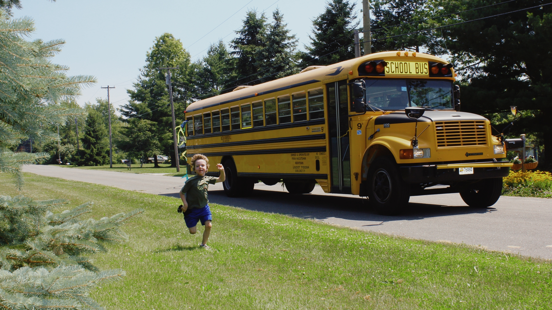 Mark Barden's son Daniel Barden races the school bus in Newtown
