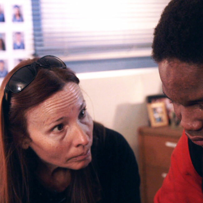 Black Rock School Principal Vonda Viland gives advice to student Lee, in The Bad Kids