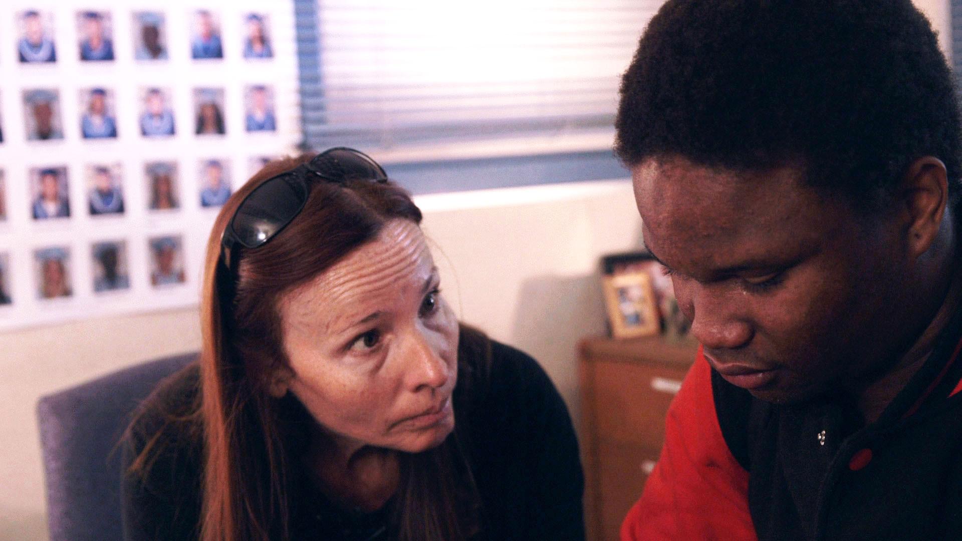Black Rock School Principal Vonda Viland gives advice to student Lee, in The Bad Kids