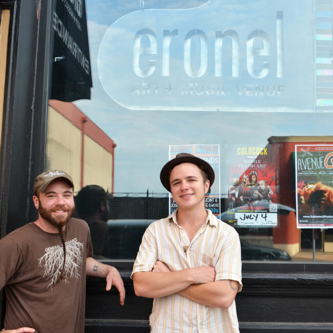 Joe and Bennett in front of Eronel music venue