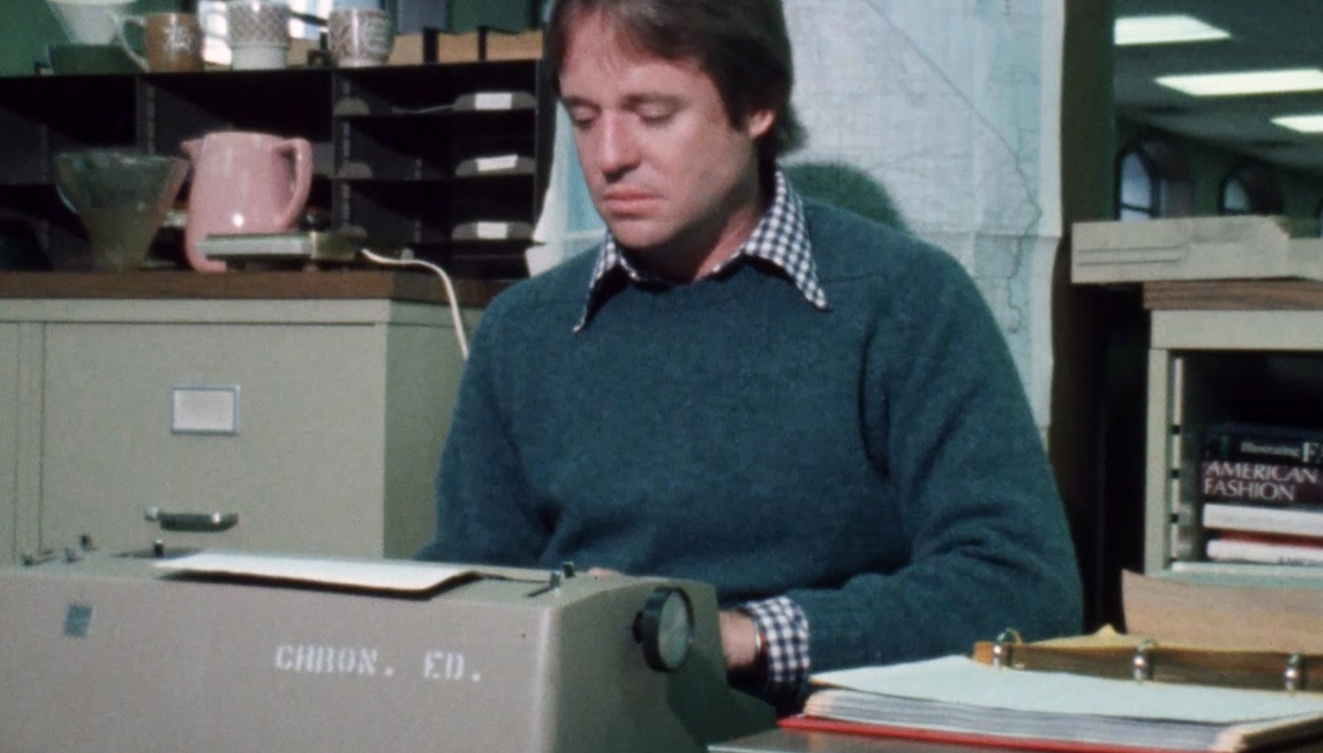 Armistead Maupin at typewriter in the 1970s, from Untold Tales