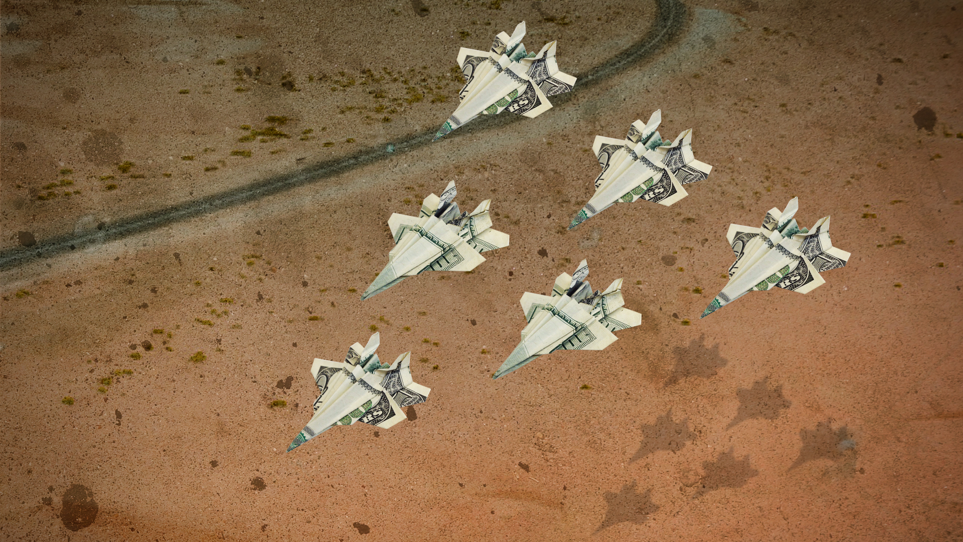 money-paper airplane fighters, in graphic for Shadow World created by Independent Lens