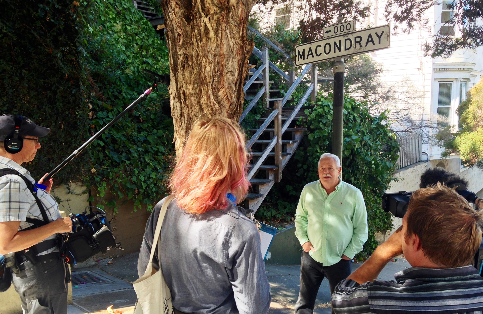 Filmmaker Jennifer Kroot interviews Maupin at steps to the real-life inspiration for Barbary Lane in Tales of the City