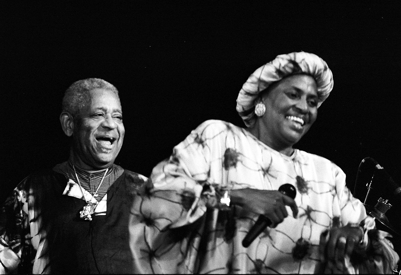 Miriam Makeba (r) with Dizzy Gillespie in France 1991