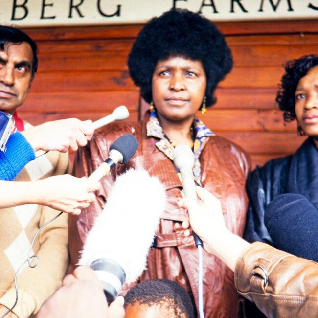 Winnie Mandela in a press conference, late 80s