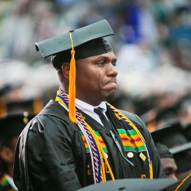 An HBCU student tears up at his graduation, from Tell Them We Are Rising