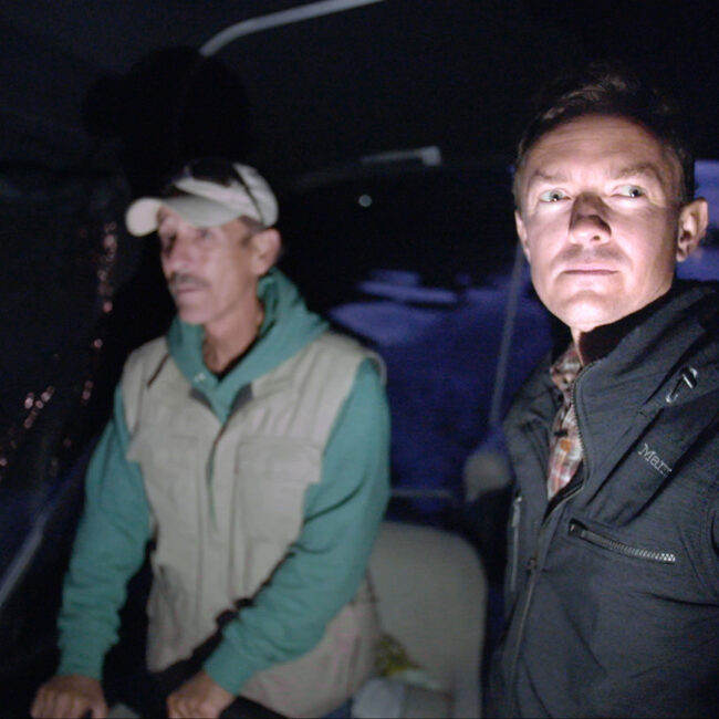 Director Cullen Hoback (at right) takes secret charter up West Virginia river to collect water samples under the cover of night.