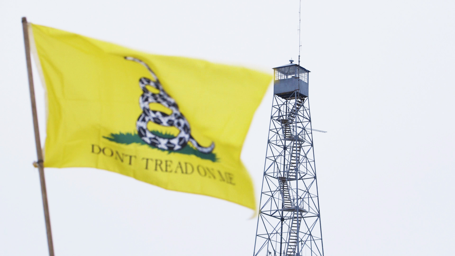 Don't Tread on Me flag in foreground, watch tower in background, from No Man's Land