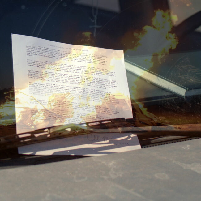 recreation of Moore's suicide note left on a dashboard in Grand Saline, in Man on Fire