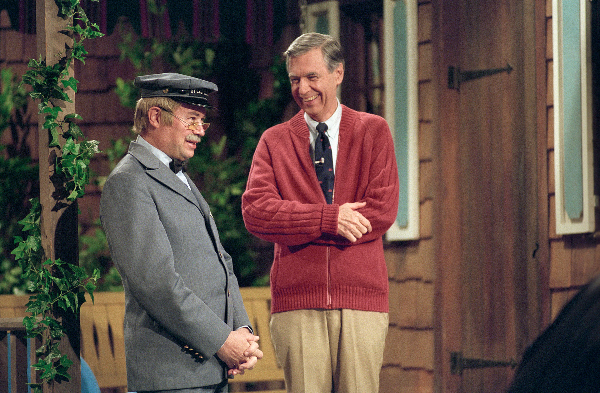 Mr Rogers and the delivery man in Mr Rogers Neighborhood