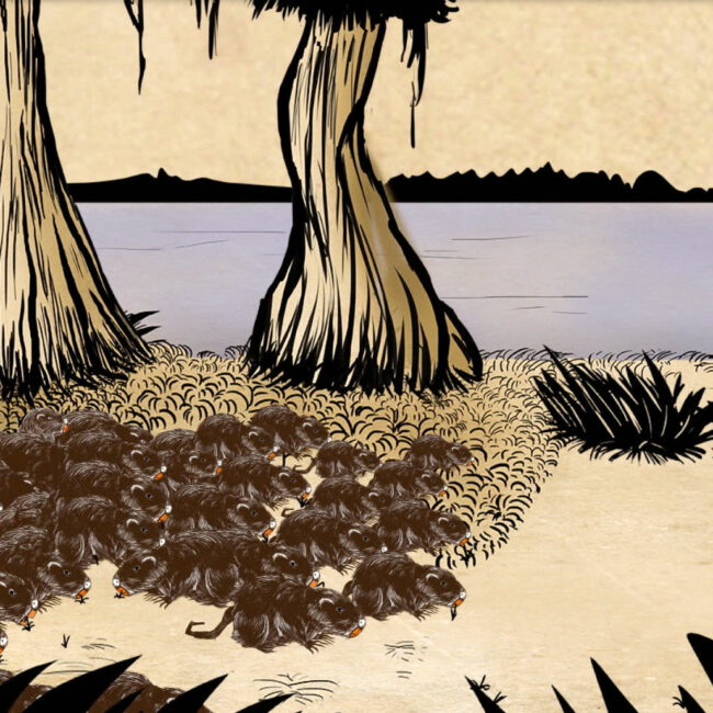 From the film Rodents of Unusual Size, animation of nutria overrunning on island in Louisiana