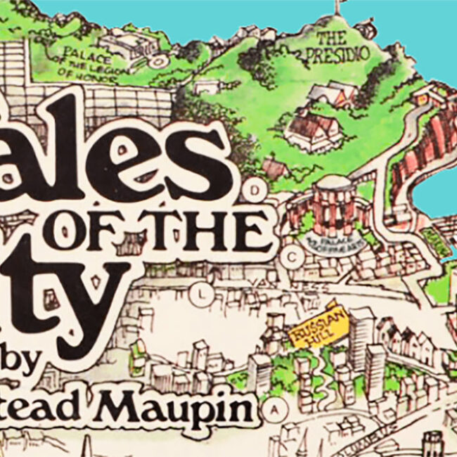 header image for Tales of the City using old San Francisco map under the 70s logo